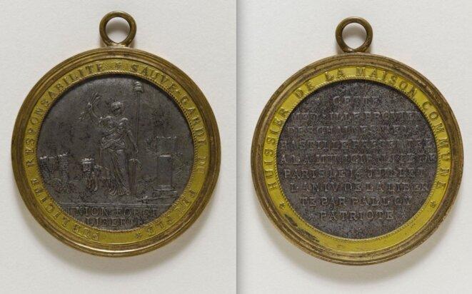 Médailles destinée aux huissiers de la municipalité de Paris, 1792