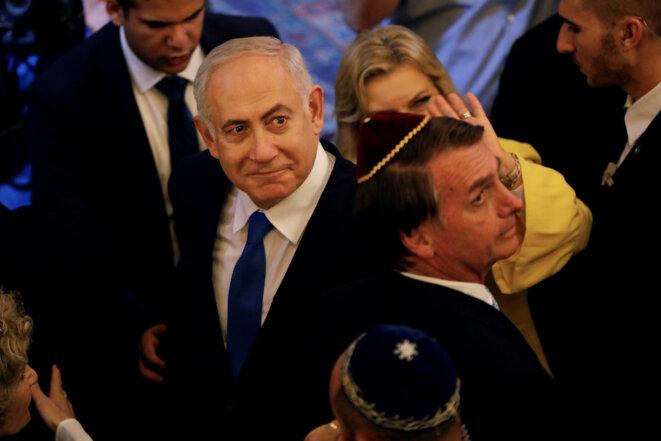 Netanyahou dans une synagogue de Rio de Janeiro avec Jair Bolsonaro, quelques jours avant l'intronisation du nouveau président brésilien. © Reuters
