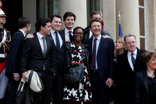 From left to right, part of President Macron's inner circle Stéphane Séjourné, Sylvain Fort, Julien Denormandie, Benjamin Griveaux, Richard Ferrand. In the middle is Sibeth Ndiaye. At the Élysée May 14th 2017. © Reuters