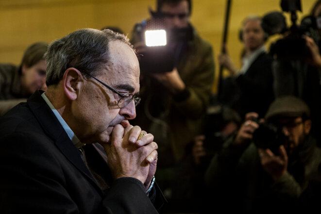 Le cardinal Barbarin au tribunal correctionnel de Lyon, le 7 janvier. © Alberto Campi / We Report