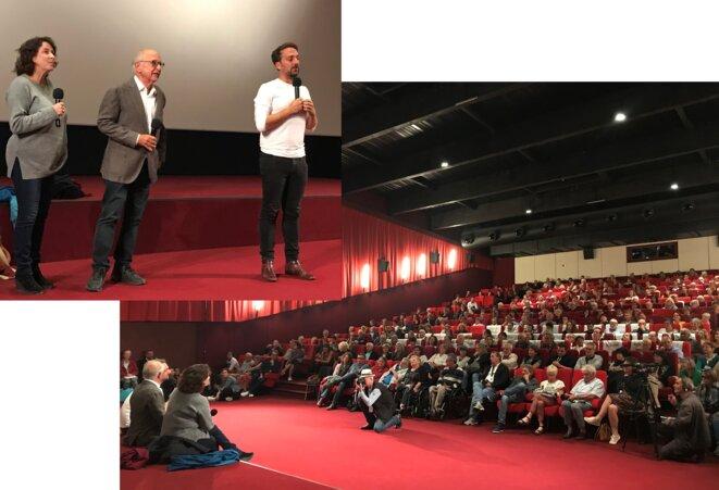 Noémie Lvovski, Alain Bouffartigue et Louis-Julien Petit s'adressant aux festivaliers à Auch [Photos YF].