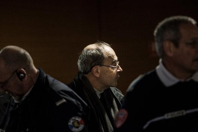 Le cardinal Philippe Barbarin, au troisième jour du procès au tribunal correctionnel de Lyon, le 9 janvier 2019. © Alberto Campi