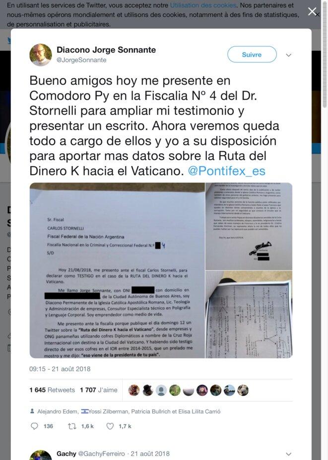Ruta del Dinero K hacia el Vaticano. © @DiaconoJorgeSonnante