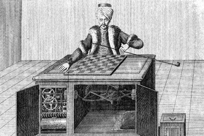 Le Turc mécanique, gravure de Karl Gottlieb von Windisch dans le livre de 1783, « Raison inanimée ». © DR
