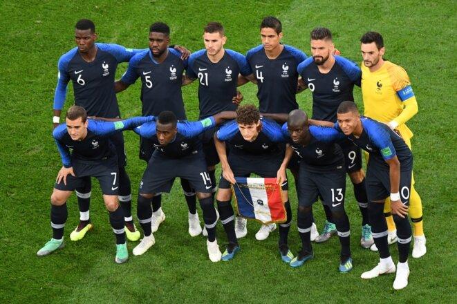 Les joueurs de l'Equipe de France avant leur match contre la Belgique lors du Mondial 2018