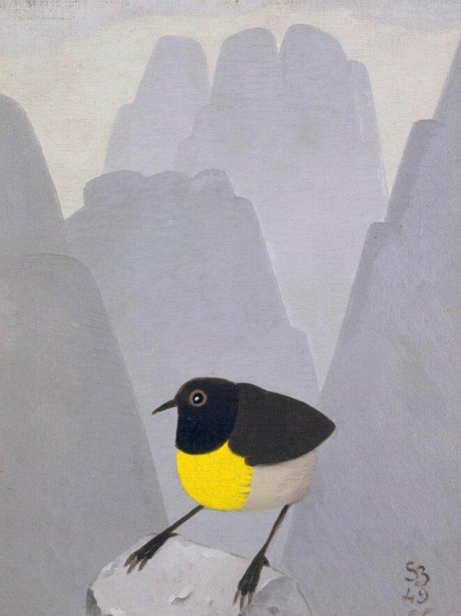 """Simon Bussy, """"Souïamanga à gorge jaune"""", huile sur toile, 1949, Musée des Beaux-arts et d'archéologie de Besançon, en dépôt au Musée des Beaux-arts de Dole © Charles Choffet"""