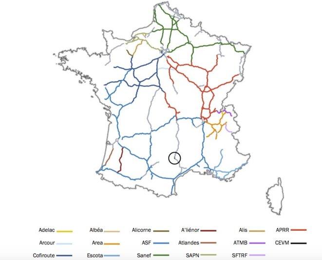 Les réseaux autoroutiers concédés au privé en France. © Arafer