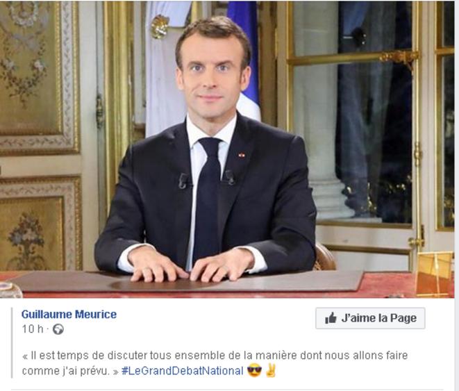 Sur la page Facebook de Guillaume Meurice © Guillaume Meurice