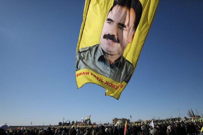 Un portrait d'Abdullah Ocalan, le leader emprisonné du PKK, le 30 janvier 2018. © Reuters