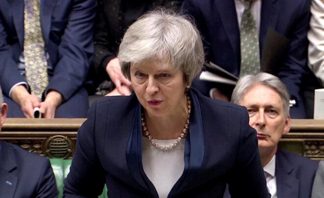 Theresa May à Wetminster, après le vote, mardi 15 janvier 2019. © Reuters