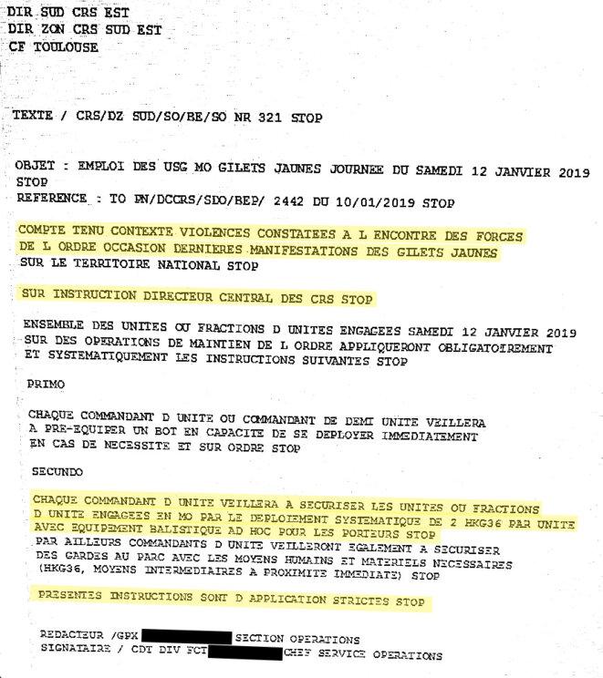 Le télégramme adressé par le patron des CRS à toutes ses unités le 10 janvier © DR