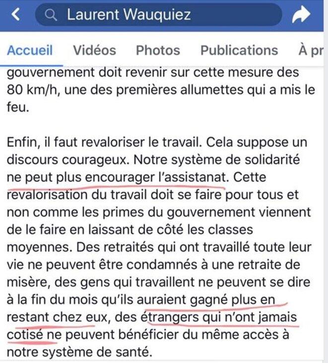 Extrait page Facebook Laurent Wauquiez