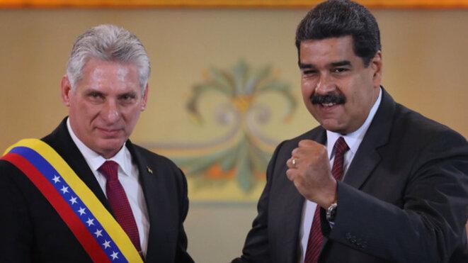 Le nouveau «chef» Miguel Diaz-Canel et son voisin Nicolà Maduro… © Anonyme
