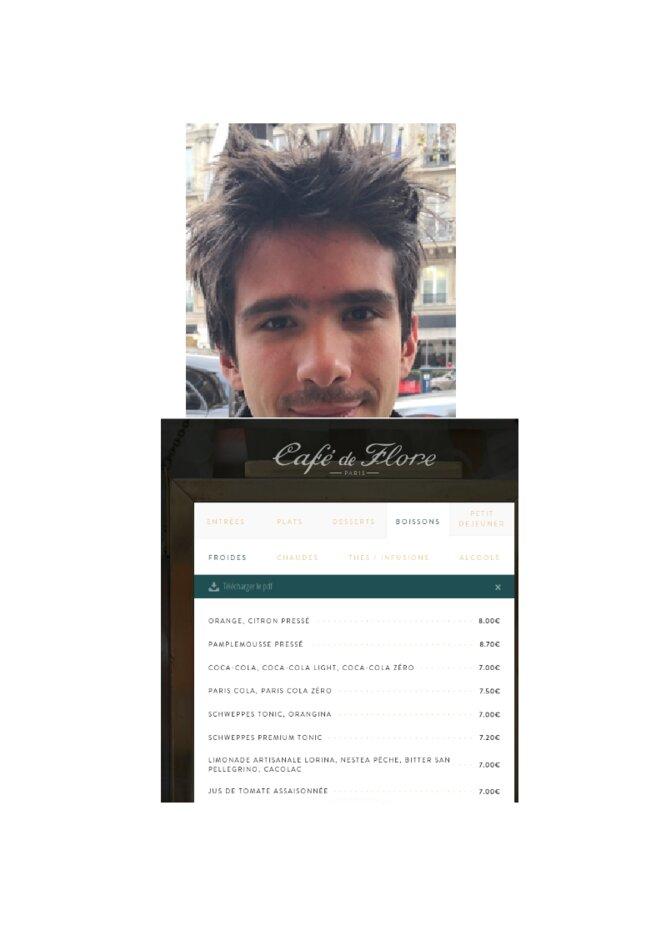 Juan Branco au café de Flore
