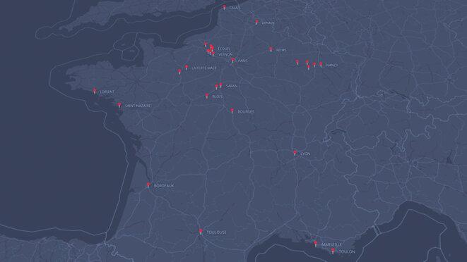 Pour retrouver nos différents reportages sur les gilets jaunes, cliquer sur la flèche en haut de la carte. © Mediapart