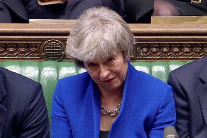 La Première ministre britannique à l'issue du vote de la motion de censure mercredi. © Reuters