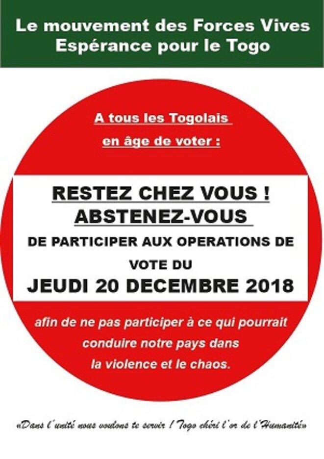Mouvement Forces Vives Espérance pour le Togo -Appel à l'abstention aux élections du 20 décembre 2018