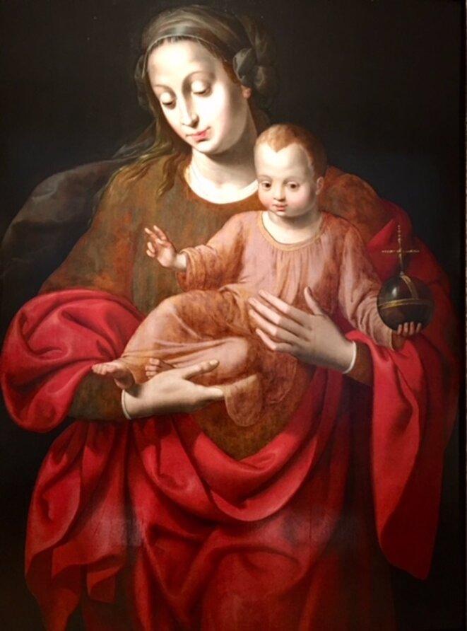 vierge à l'enfant, anonyme du XVIème siècle, Musée H Rigaud, ( ville de P. )