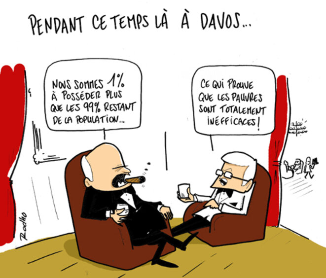 Dessin de @rodho (initialement publié par le média Bastamag : https://www.bastamag.net/A-Davos-Francois-Hollande-l-ennemi)