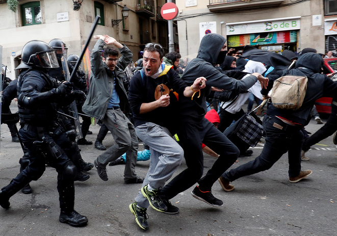 Pendant une manifestation à Barcelone, le 21 décembre 2018. © Reuters