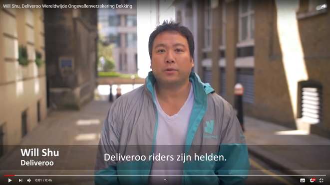 """Will shu, PDG de Deliveroo : """"Les riders Deliveroo sont des héros"""" (traduit d'une vidéo promotionnelle néerlandaise)"""