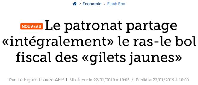 http://www.lefigaro.fr/flash-eco/2019/01/22/97002-20190122FILWWW00061-le-patronat-partage-integralement-le-ras-le-bol-fiscal-des-gilets-jaunes.php