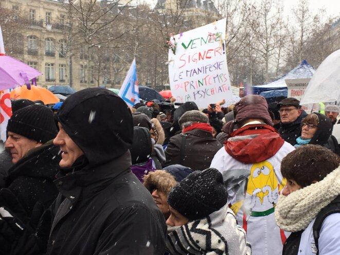 Lors de la manifestation, à Paris, le 22 janvier 2018.