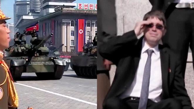 Lunettes de soleil sur le nez, Benoît Quennedey assiste tout sourires dans les gradins au défilé militaire lors des 70 ans du régime nord-coréen. © Photo-montage à partir de captures d'écran.