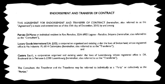 Le contrat de consultant de Patrizio Di Marco avec Castera au Luxembourg. © EIC