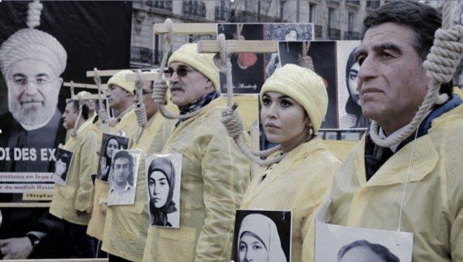 Manifestation à Paris contre la venue de Rohani en France en janvier 2016 © http://javaddabiran.blogspot.com/