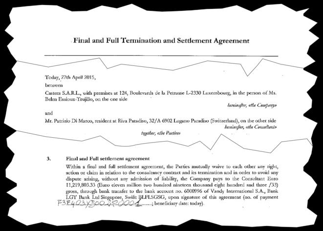 L'accord de fin de contrat entre Patrizio Di Marco et Castera. © EIC