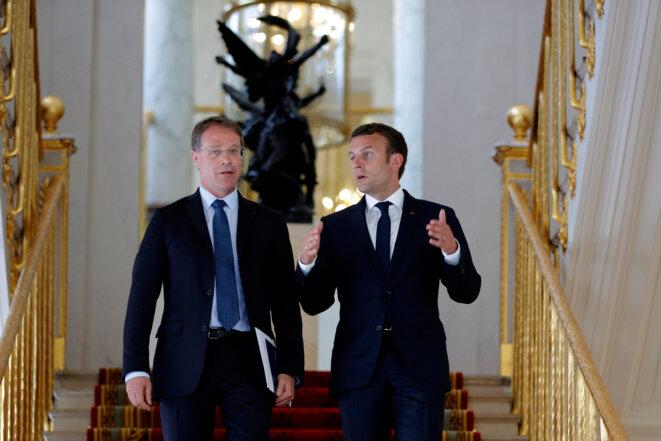 Emmanuel Macron et François Asselin, président national de la CPME. © Reuters/Philippe Wojazer