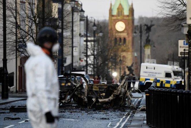 Scène d'attentat à Londonderry, en Irlande du Nord, le 20 janvier 2019. © REUTERS/Clodagh Kilcoyne