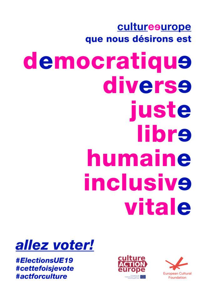 appel de Culture Action Europe pour les élections du Parlement européen 2019 © CAE