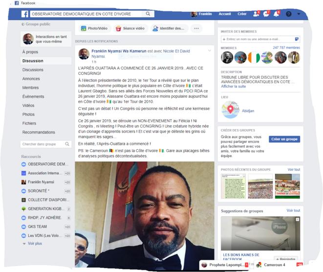 Le Professeur Franklin Nyamsi Wa Kamerun annonce le début de la fin de l'ère Ouattara sur ODCI, un site d'internautes de près de 250 000 membres