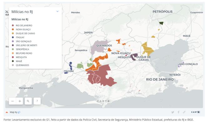 Cartographie site G1. Sur les zones de milices à Rio de Janeiro