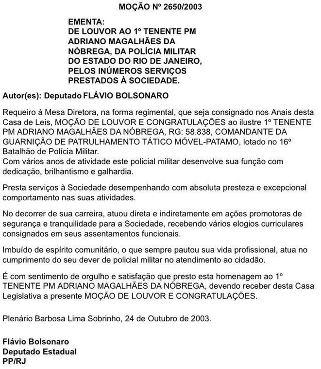 Décoration faite par Flavio Bolsonaro au chef de milice