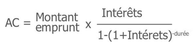 Formule pour le calcul d'une échéance de prêt à taux fixe.