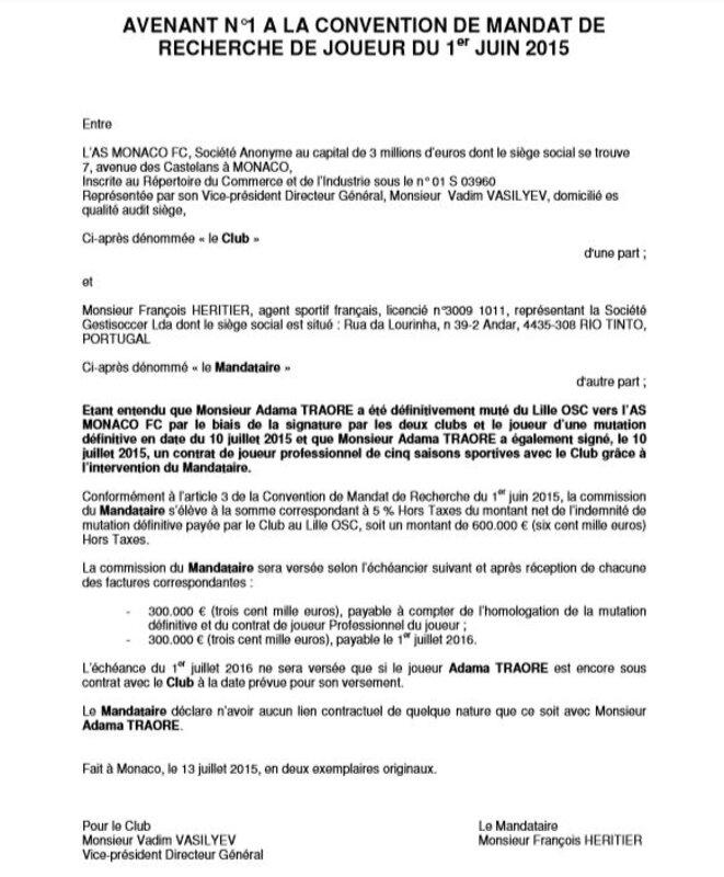 Avenant à la convention de mandat de recherche de joueur passé entre la société Gestisoccer et l'AS Monaco. © EIC