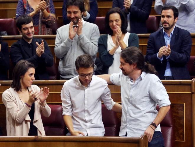 Íñigo Errejón et Pablo Iglesias au Congrès des députés, en octobre 2016. © Reuters