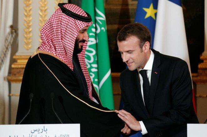 Mohammed ben Salmane et Emmanuel Macron, le 10 avril 2018, à Paris. © Reuters