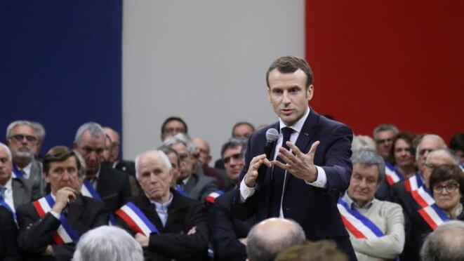 Emmanuel Macron à Souillac (Lot), devant 600 maires, le 18 janvier 2019. © Reuters