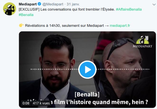 Capture d'écran Twitter de Mediapart © Favier