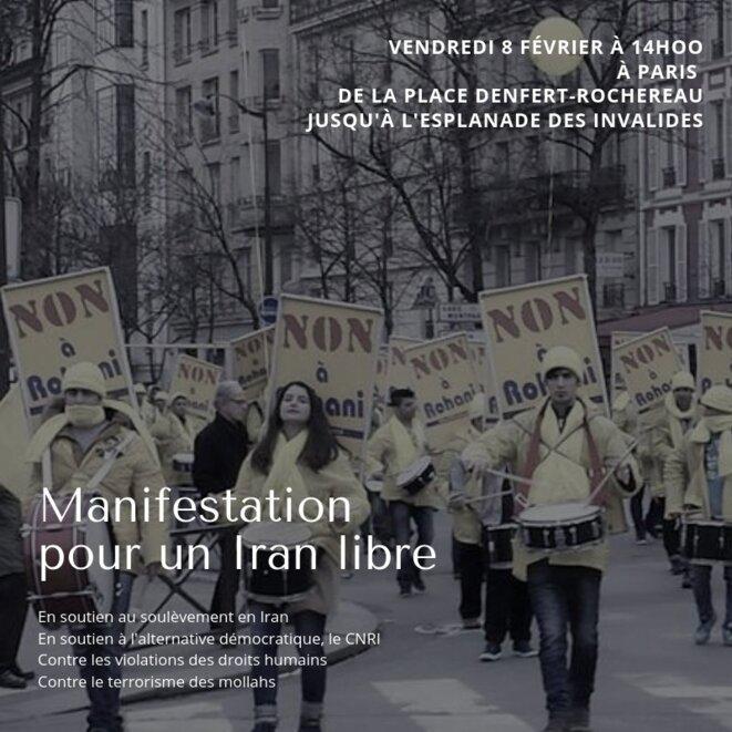 Appel à Manifester pour la liberté en Iran: vendredi 8 Fév. 2019, marche depuis Denfert-Rochereau