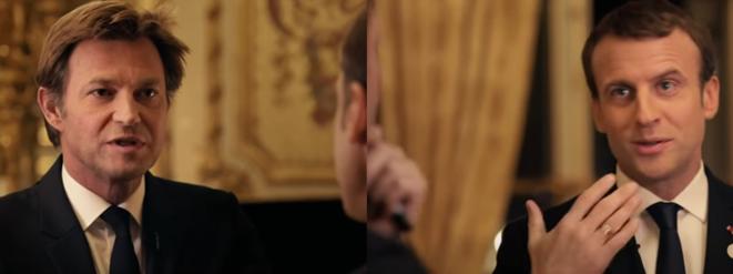 Emmanuel Macron entrevistado por Laurent Delahousse en France 2 en diciembre de 2017 (capturas de pantalla).