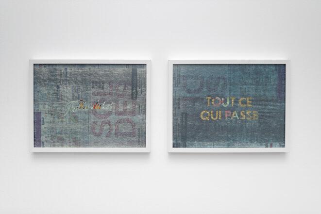 """Paul Pouvreau, """"Faites durer tout ce qui se passe"""", vue de l'exposition """"Le magazine des jours"""", Centre photographique d'Ile-de-France, Pontault-Combault, 2019. © Aurélien Mole, 2019"""
