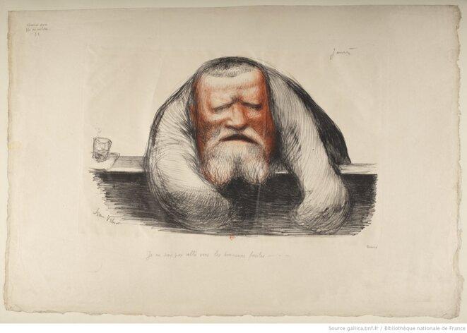 """""""Jaurès à la tribune"""", estampe de Jean Veber, 1904. Source: www.gallica.bnf.fr"""