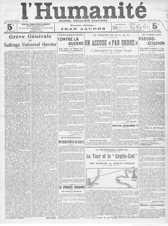 La une de l'Humanité du 9 septembre 1908 comprenant l'article de Jean Jaurès. Source: www.gallica.bnf.fr