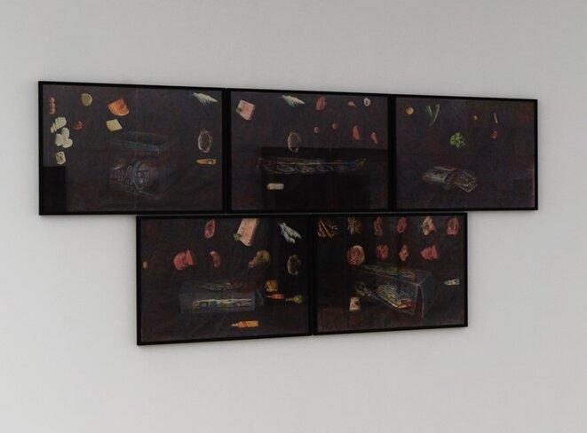 """Paul Pouvreau, """"Pique-nique aux champs"""", vue de l'exposition """"Le magazine des jours"""", Centre photographique d'Ile-de-France, Pontault-Combault, 2019. © Aurélien Mole, 2019"""