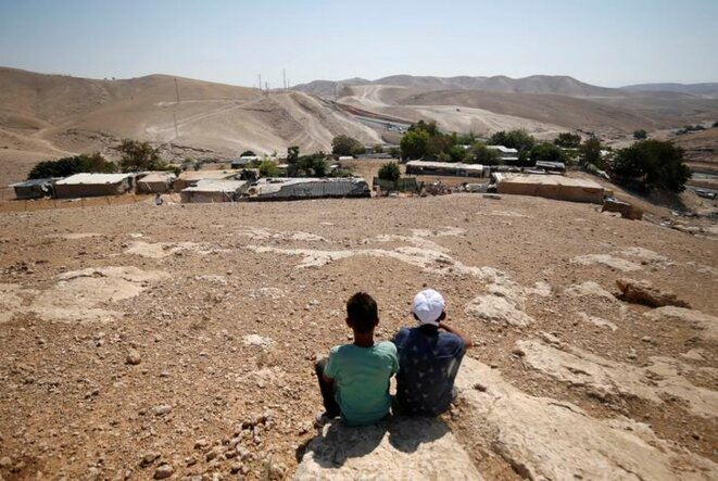 Le village palestinien de Khan Al-Ahmar, menacé de destruction. © Reuters